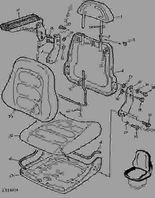 Parts scheme SEAT CUSHIONS [03B17] - COMBINE John Deere 4435 Hydro - COMBINE - 4435 and 4435 Hydro Combines 90 OPERATOR'S STATION SEAT CUSHIONS [03B17] | 777parts