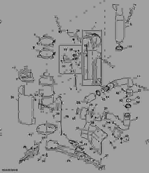 Parts scheme Exhaust System (IT-4) - TRACTOR John Deere 8335R - TRACTOR - 8335R Tractor (Worldwide) Air And Fuel Tank 8335R Exhaust System (IT-4) | 777parts