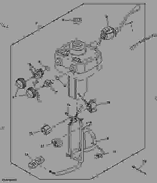 Parts scheme Steering Column And Mounting (IVT W/RH Reverser) - TRACTOR John Deere 8335R - TRACTOR - 8335R Tractor (Worldwide) OPERATOR'S STATION ELECTRICAL 8335R Steering Column And Mounting (IVT W/RH Reverser) | 777parts