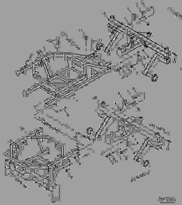 Parts scheme FRONT AND REAR FRAME (TOW-BEHIND) - CART, COMMODITY John Deere 1910 - CART, COMMODITY - 1910 Commodity Air Cart FRAMES AND HITCHES FRONT AND REAR FRAME (TOW-BEHIND) | 777parts