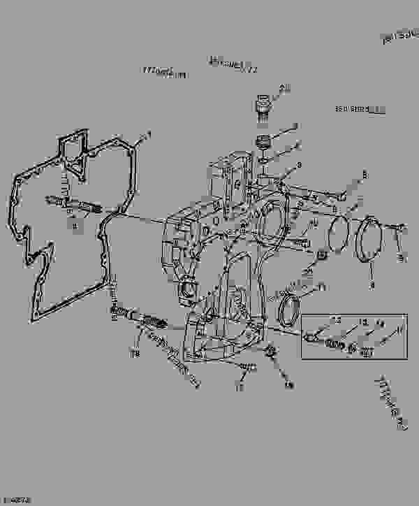 Parts scheme TIMING GEAR COVER & ENGINE OIL PRESSURE REGULATING VALVE (046261-      ) (EARLY DESIGN) [D14] - ENGINE, POWERTECH John Deere 4045TN050 - ENGINE, POWERTECH - PowerTech Plus 4.5L 4045TN050 (4045 Tier 2) Engine 123 T04045TN050 TIMING GEAR COVER & ENGINE OIL PRESSURE REGULATING VALVE (046261-      ) (EARLY DESIGN) [D14] | 777parts