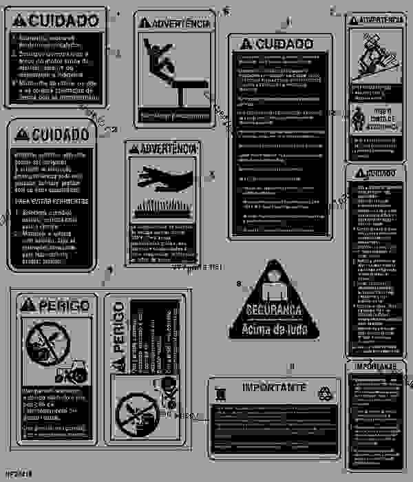 Parts scheme SAFETY DECALS (PORTUGUESE) - SPRAYER John Deere 4920 - SPRAYER - 4920 Sprayer DECALS SAFETY DECALS (PORTUGUESE) | 777parts