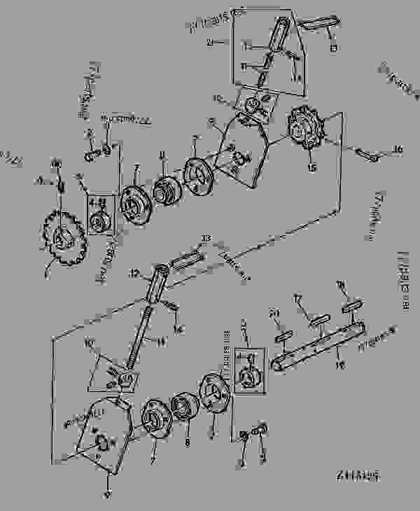 Parts scheme TENSIONER FOR TAILINGS AUGER [06F23] - COMBINE John Deere 1166 - COMBINE - 1166, 1166HY/4 Combines 130 ELEVATORS,GRAIN TANK AND UNLOADING AUGERS TENSIONER FOR TAILINGS AUGER [06F23] | 777parts