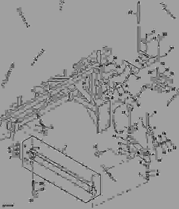 Parts scheme Conveyor Pivot Arm and Tube Support (350 and 430 Tow-Between)  (735101 - ) - CART, COMMODITY John Deere 1910 - CART, COMMODITY - 1910 Commodity Air Cart COMMODITY FILL SYSTEMS Conveyor Pivot Arm and Tube Support (350 and 430 Tow-Between)  (735101 - ) | 777parts