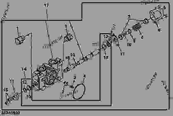 Parts scheme VALVE SECTION (SWING) - BACKHOE John Deere 46 - BACKHOE - 46, 47, 48, 375, 447, 448 and 485 Backhoes (for 4000 Series Compact Utility Tractor) Backhoe 485 VALVE SECTION (SWING) | 777parts