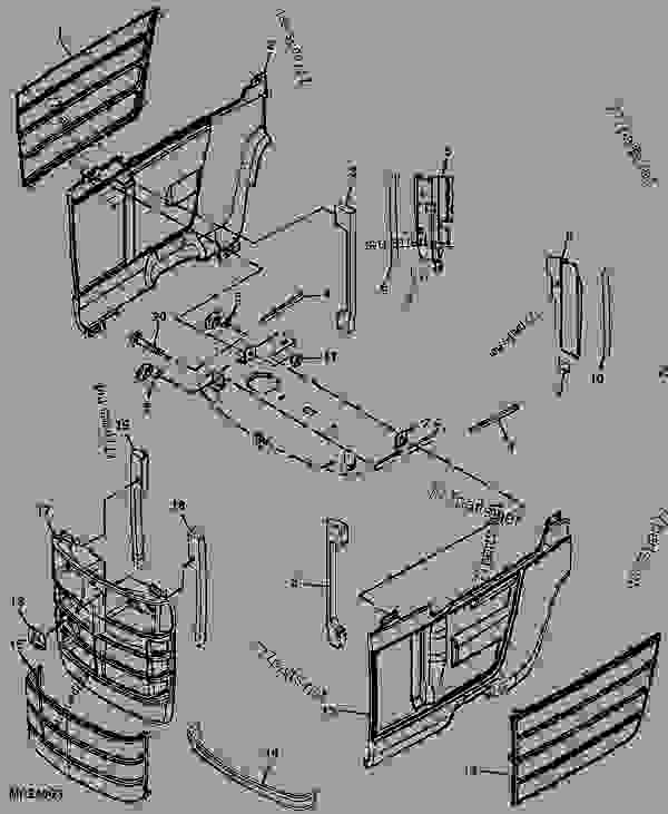 front and side panels tractor, compact utility john deere 4400 4400 John Deere Utility Tractor Parts Diagram list of spare parts