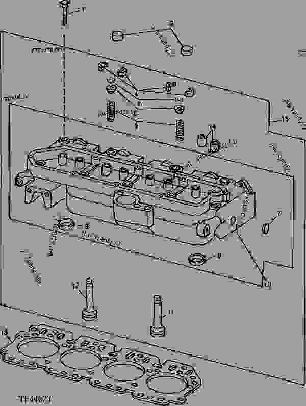 Parts scheme REPLACEMENT CYLINDER HEAD WITH VALVES (415B) [01F04] - BACKHOE, LOADER John Deere 415B - BACKHOE, LOADER - 415B, 515B Backhoe Loaders 4 ENGINE      4 CYLINDER HEAD AND VALVES  0409 REPLACEMENT CYLINDER HEAD WITH VALVES (415B) [01F04] | 777parts