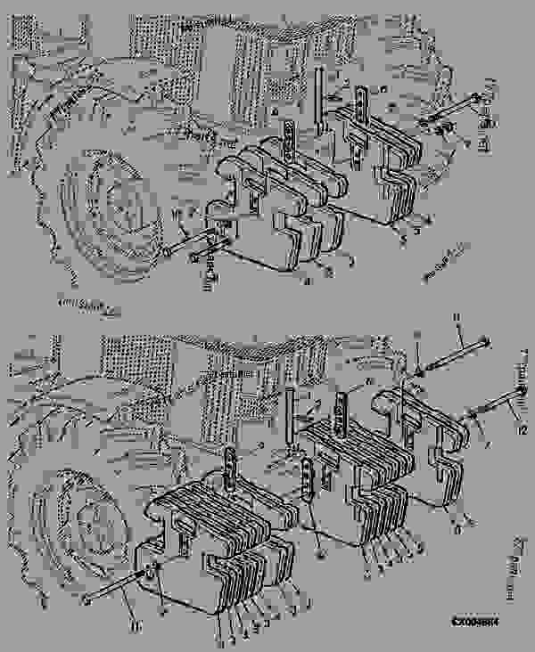 Parts scheme ADDITIONAL FRONT WEIGHTS - TRACTOR John Deere SE6110 - TRACTOR - SE6010, SE6110, SE6210, SE6310, SE6410 Tractors (European Edition) WHEELS, SHEET METAL, MISCELLANEOUS ADDITIONAL FRONT WEIGHTS | 777parts