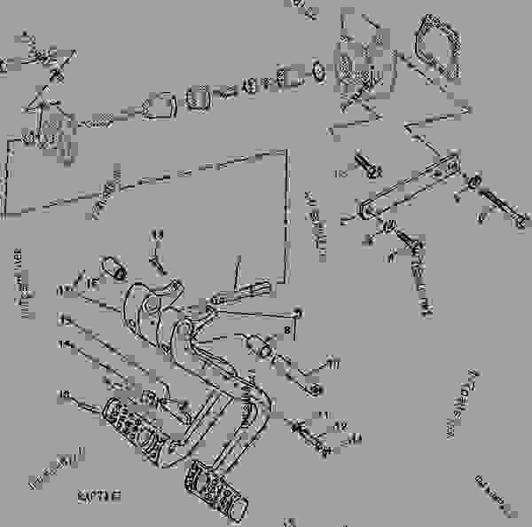 Parts scheme BRAKE PEDAL (WITHOUT MECHANICAL FRONT WHEEL DRIVE) - TRACTOR John Deere 4455 - TRACTOR - 4055, 4255 and 4455 Tractors (North American Edition) STEERING AND BRAKES BRAKE PEDAL (WITHOUT MECHANICAL FRONT WHEEL DRIVE) | 777parts
