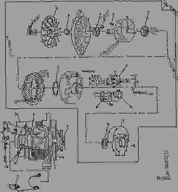alternator (65 amp) (736176 - 766921) - backhoe, loader ... wiring diagram for john deere 1020 #13