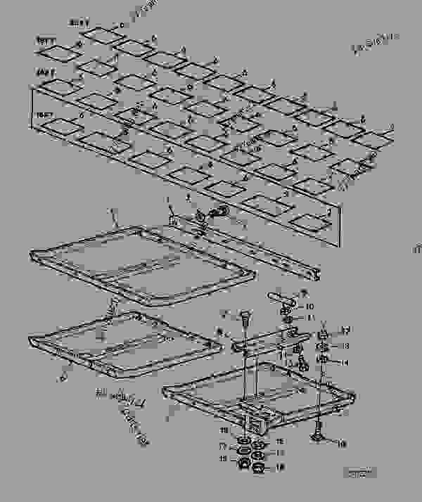 Parts scheme SKID PLATES (COVER PLATES) [F05] - CUTTING PLATFORM John Deere 818 - CUTTING PLATFORM - 810, 812, 814, 816, 818, 820 Cutting Platforms (-017623) (European Edition) 80 FRAME, SHEETS, DIVIDERS, SKID PLATES, AND DECALS SKID PLATES (COVER PLATES) [F05] | 777parts