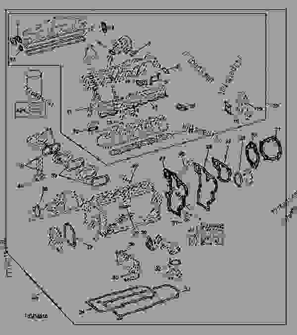 Parts scheme ENGINE GASKET SET - TRACTOR John Deere 4455 - TRACTOR - 4055, 4255 and 4455 Tractors (North American Edition) ENGINE ENGINE GASKET SET | 777parts