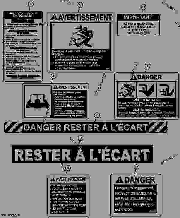 Parts scheme Decals and Labels (French)  (RC60L, RC72L, RC72, RC78) - LOADER, SKID-STEER, ATTACHMENT John Deere CP24C - LOADER, SKID-STEER, ATTACHMENT - Worksite Pro Rotary Equipment Rotary Cutter Decals and Labels (French)  (RC60L, RC72L, RC72, RC78) | 777parts