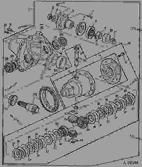 Parts scheme FWD DIFFERENTIAL AND CARRIER/SELF-LOCKING DIFFERENTIAL [01I05] - TRACTOR John Deere 1641 - TRACTOR - 1641, 1641F Tractors 50 POWER TRAIN FWD DIFFERENTIAL AND CARRIER/SELF-LOCKING DIFFERENTIAL [01I05] | 777parts