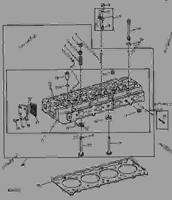 Parts scheme CODE 1315  CYLINDER HEAD AND VALVES (RIGHT OR LEFT BANK) [A22] - ENGINE, OEM (SERIES 700 DIESEL) John Deere 8955T - ENGINE, OEM (SERIES 700 DIESEL) - 8955T and 8955A OEM Engines and Accessories 5 ENGINE  ROCKER ARM COVER, CYLINDER HEAD AND VALVES CODE 1315  CYLINDER HEAD AND VALVES (RIGHT OR LEFT BANK) [A22] | 777parts