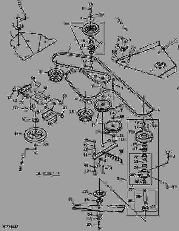 Mower Drive Belt Sheaves Spindles And Blades D15 Attachment. List Of Spare Parts. John Deere. John Deere 54 Mower Deck Pto Belt With Diagram At Scoala.co