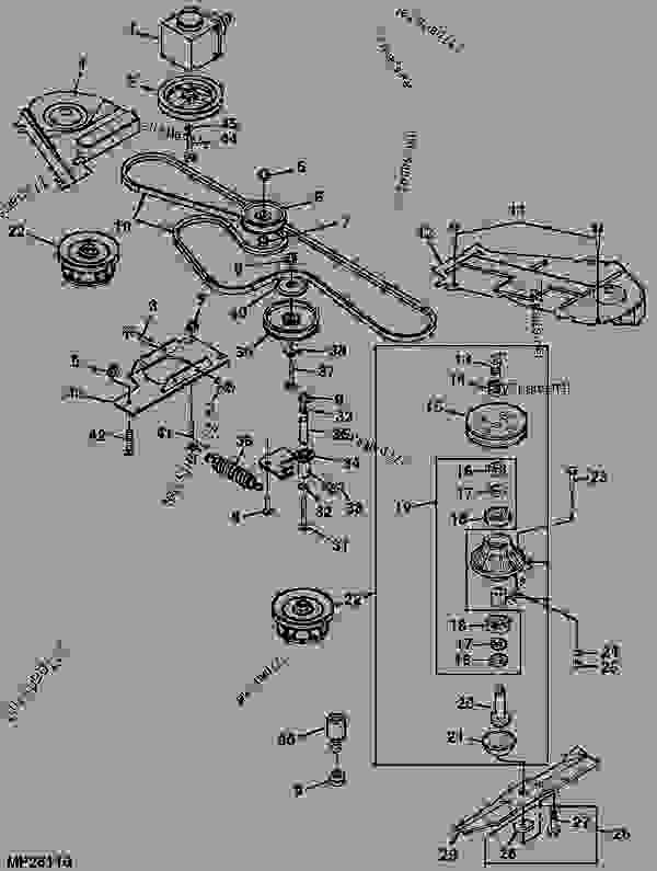 Parts scheme MOWER DRIVE BELT, SHEAVES, SPINDLES AND BLADES [1] - ATTACHMENT, MID-MOUNT ROTARY MOWER, MOWER DECKS, AND 3-BAG MCS (2210 AND 4X10 SERIES CUTS) John Deere 4310 - ATTACHMENT, MID-MOUNT ROTARY MOWER, MOWER D - 54-in.,54C,60-in.,62C,72-in. Mower Decks for 2210,4010,4110,4115,4210,4310,4410,4510,4610,4710 Compact Utility Tractors 40 54-INCH MOWER DECK (4010 C.U.T.) [40] MOWER DRIVE BELT, SHEAVES, SPINDLES AND BLADES [1] | 777parts