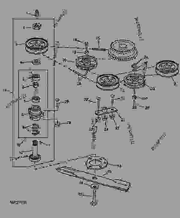 Parts scheme IDLER SHEAVES, BELT, BLADES AND SPINDLES [A20] - DECK John Deere 60 - DECK - 50-Inch, 60-Inch, and 72-Inch Mowers (655, 755, 855, and 955 Compact Utility Tractors) 10 50 MID-MOUNT ROTARY MOWER (655 COMPACT UTILITY TRACTORS) IDLER SHEAVES, BELT, BLADES AND SPINDLES [A20] | 777parts