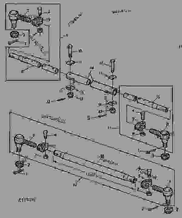 Parts scheme TIE ROD [03A20] - COMBINE John Deere 1166 - COMBINE - 1166, 1166HY/4 Combines 60 STEERING SYSTEMS, BRAKES AND REAR AXLE TIE ROD [03A20] | 777parts
