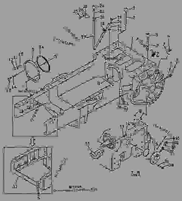 Parts scheme STEERING CASE AND MAIN FRAME - Bulldozer Komatsu D155S-1 - STEERING SYSTEM AND FINAL DRIVE | 777parts