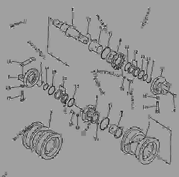 Parts scheme TRACK ROLLER (FOR SLAG HANDLING) - Bulldozer Komatsu D155S-1 - TRACK | 777parts