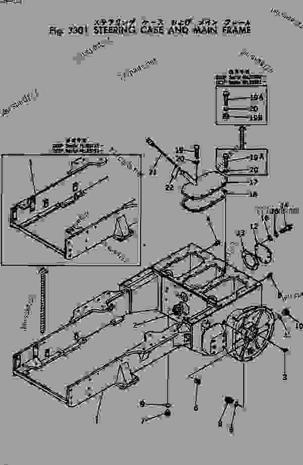 Parts scheme STEERING CASE AND MAIN FRAME - Bulldozer Komatsu D20P-5A - STEERING SYSTEM AND FINAL DRIVE | 777parts
