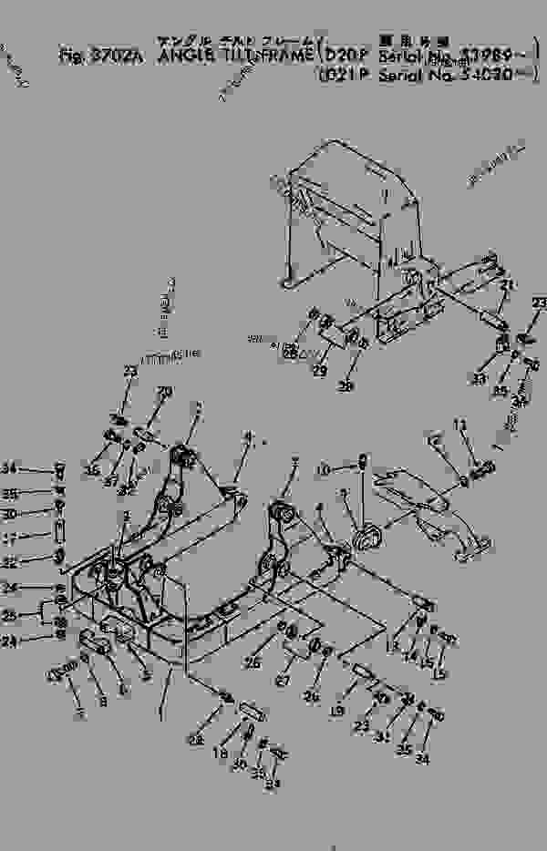 Parts scheme ANGLE TILT FRAME(#53989-) - Bulldozer Komatsu D20P-5A - WORK EQUIPMENT | 777parts