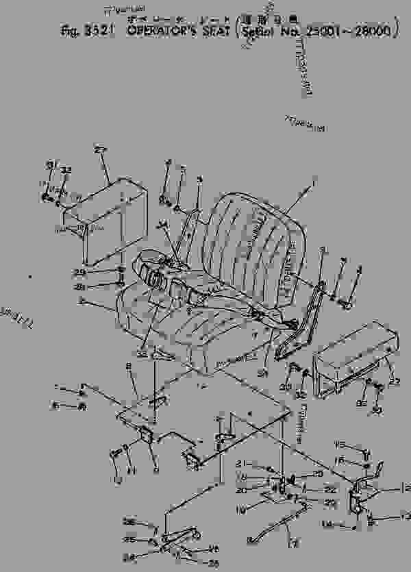 Parts scheme OPERATOR'S SEAT(#25001-28000) - Bulldozer Komatsu D31S-16 - GUARD | 777parts