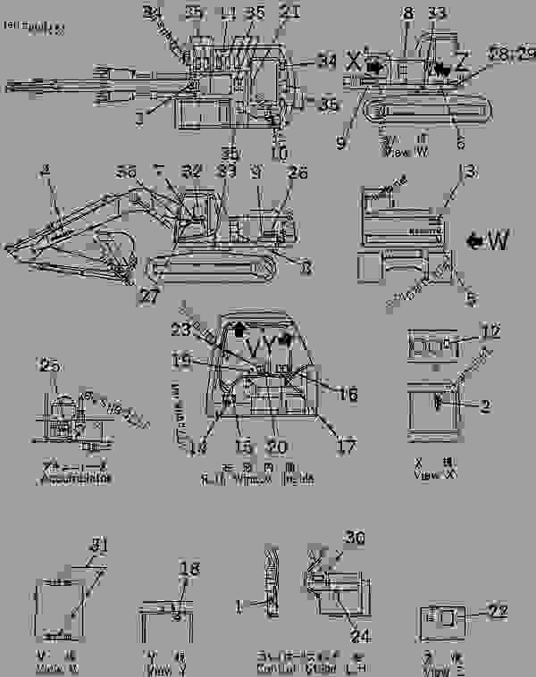 Parts scheme DECAL AND PLATE (INDONESIAN)(#88000-96513) - Hydraulic Excavator Komatsu PC200LC-6-A - MARKS AND PLATES | 777parts