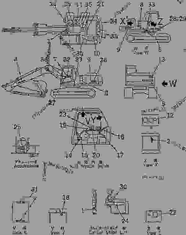 Parts scheme DECAL AND PLATE (SPANISH)(#88000-96513) - Hydraulic Excavator Komatsu PC200LC-6-A - MARKS AND PLATES | 777parts