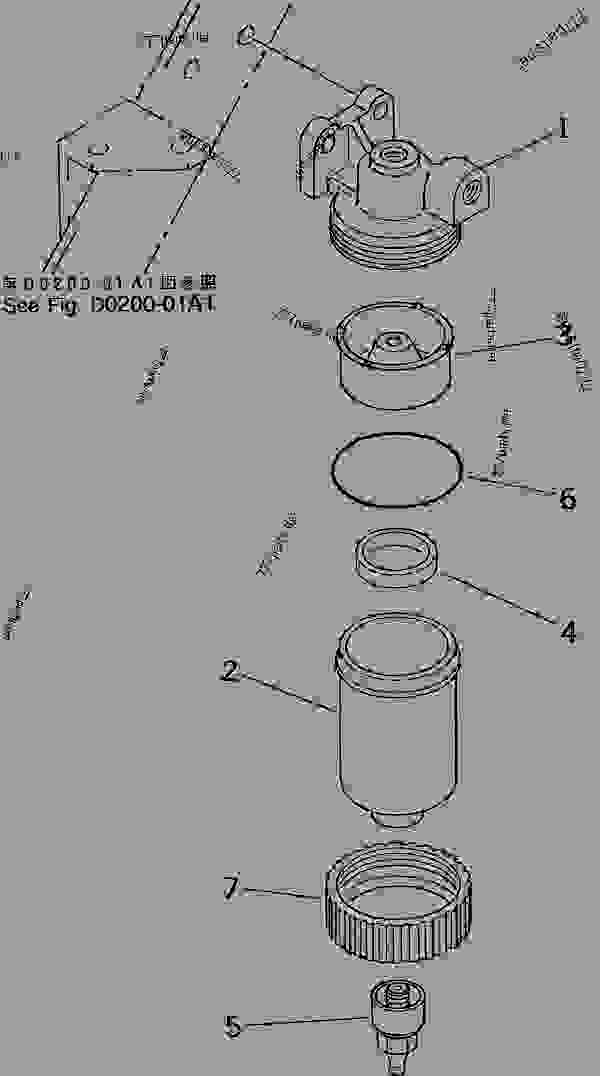 Parts scheme WATER SEPARATOR - Hydraulic Excavator Komatsu PC60-7 - FUEL TANK AND RELATED PARTS | 777parts