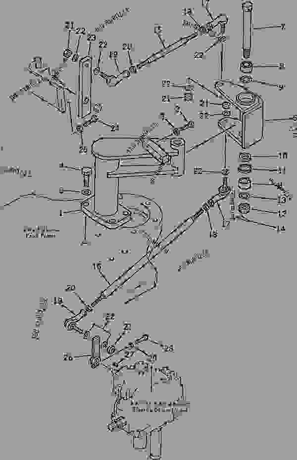 Parts scheme STEERING LINKAGE - Wheel Loader Komatsu WD600-1H - STEERING AND CONTROL SYSTEMS | 777parts