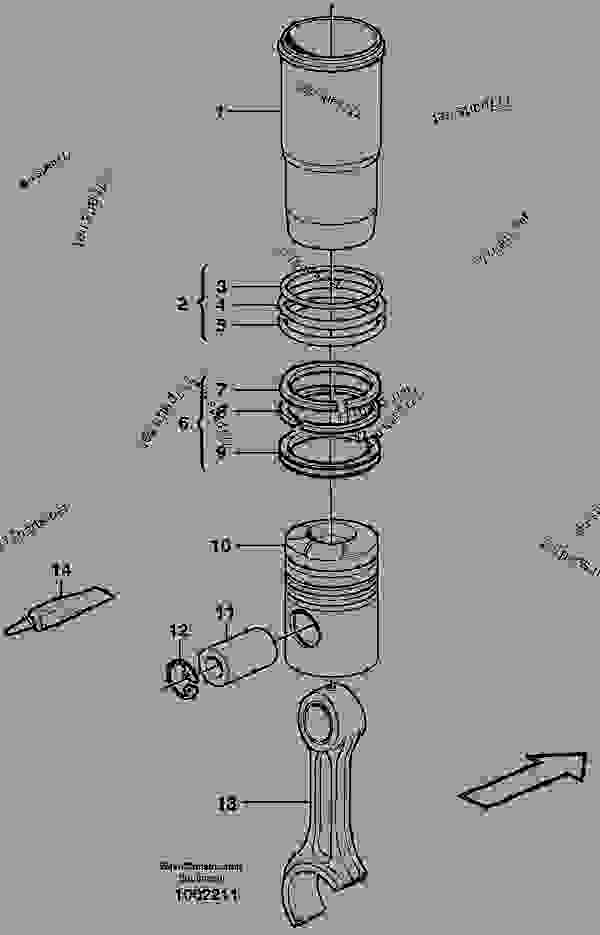 Parts scheme Cylinder liner and piston - Motor Graders Volvo G700B - Engine with mounting and equipment Engine Cylinder liner, piston | 777parts
