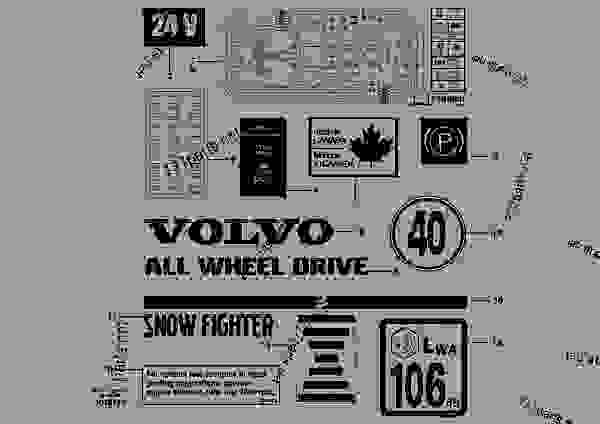 Parts scheme Decals - Motor Graders Volvo G700B - Machinery house, cab, exterior trim parts anywhere Trim part, outside, Glass, Sealing moulding Outside trim parts, emblems, reflectors, rear view mirrors | 777parts
