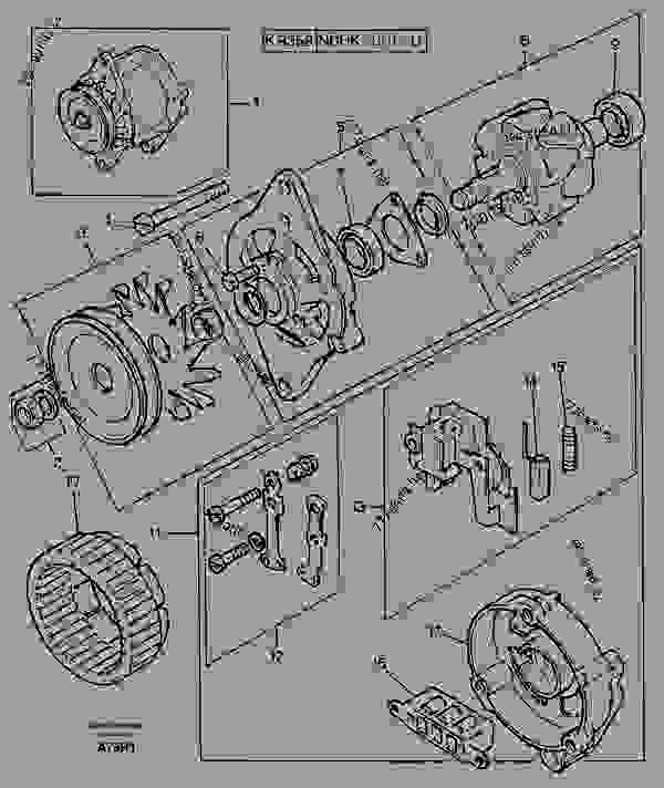 Parts scheme Alternator - Excavators Volvo EC50 - Electrical, warning, informationsystems and instruments Alternator and charge regulator  Alternator inclusive drive | 777parts
