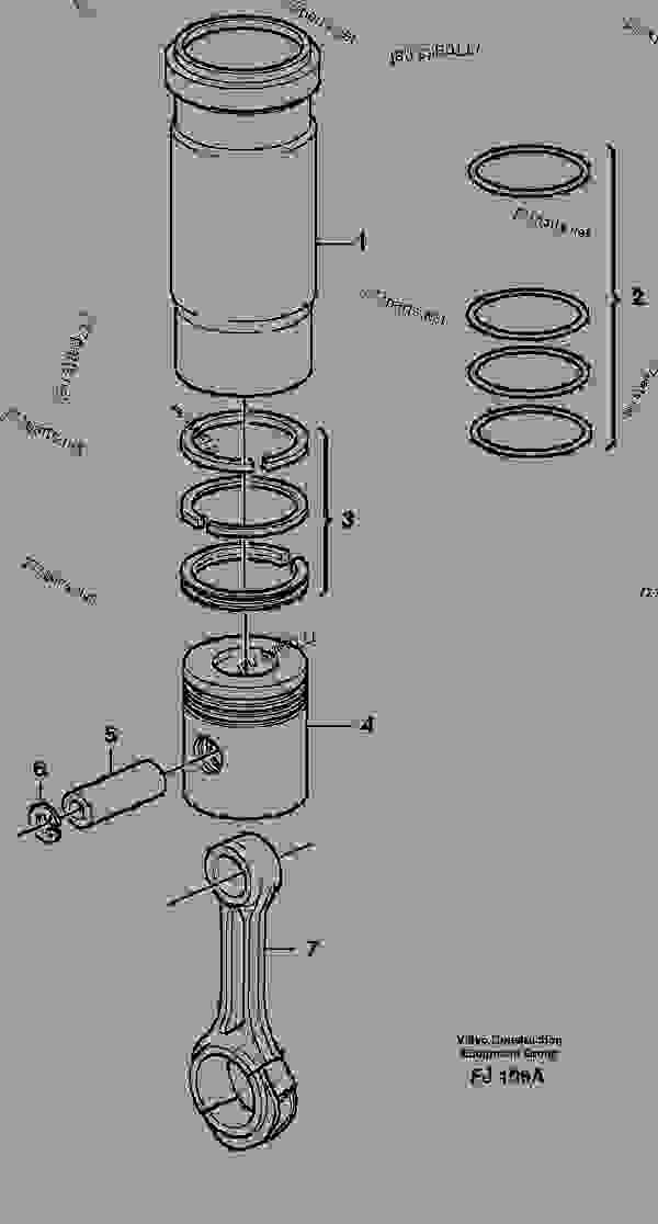 Parts scheme Cylinder liner and piston - Excavators Volvo EC200 - Engine with mounting and equipment Engine Cylinder liner, piston | 777parts