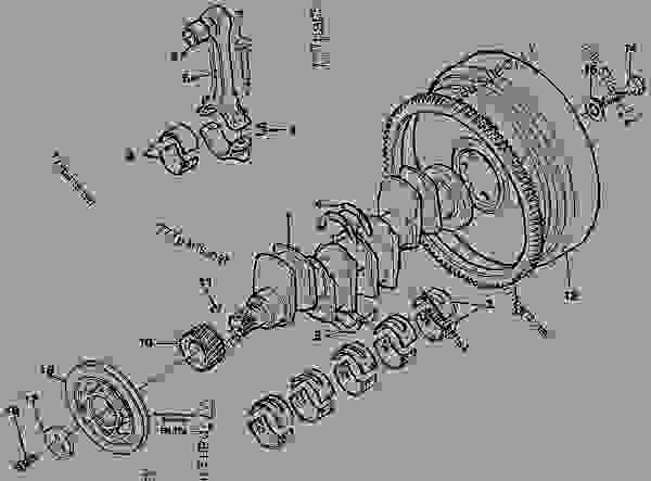 Parts scheme Crankshaft and related parts - Excavators Volvo EC150C - Engine with mounting and equipment Engine Crank shaft, connecting rod, vibration damper, fly wheel | 777parts