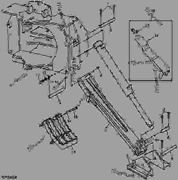 John Deere 300 Backhoe Parts : Stabilizer backhoe john deere