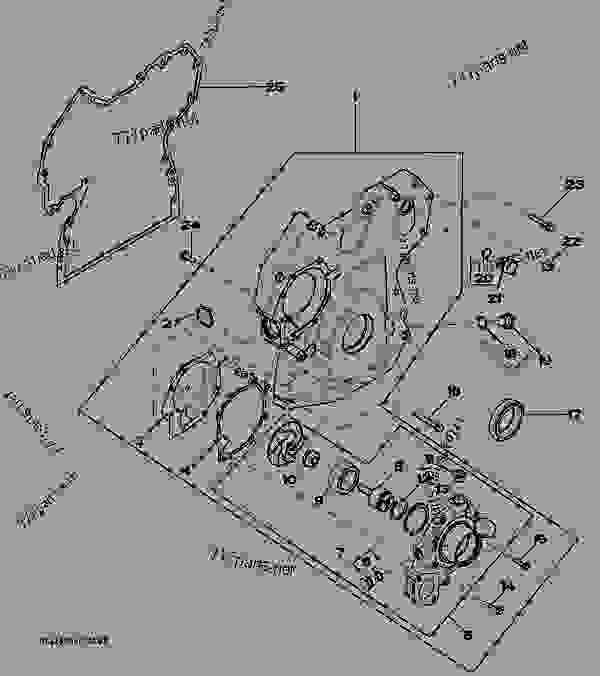 John Deere 4445 : Timing gear cover engine powertech john deere