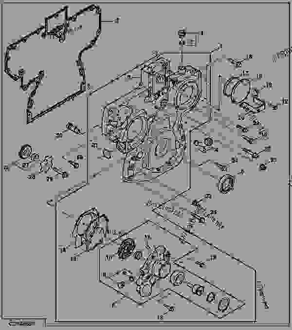 John Deere B Engine Parts : Timing gear cover and water pump engine powertech