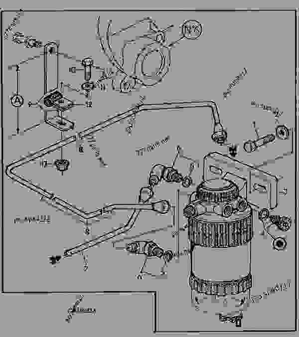 fuel filter    fuel line  rh side  - engine  powertech john deere 5 9 l
